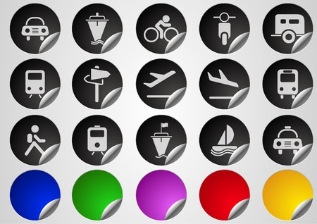 Transportation and Vehicle icons  Label Button series Vector