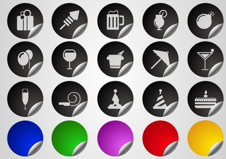 circularity: Party and Celebration icons Label Button series