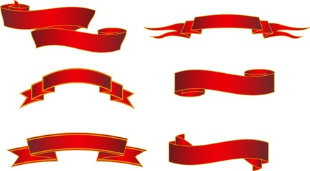 bows and ribbons: Red Graphic Banners set Illustration