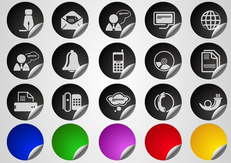Communication icons Label Button series Stock Vector - 7612552