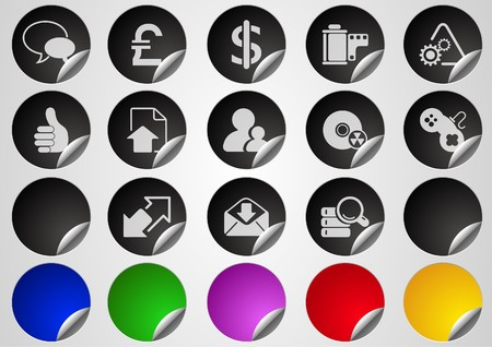 Internet icons Label Button series Stock Vector - 7612494