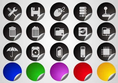 Computer and Data icons Label Button series Vector