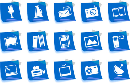 Media and Publishing icons Label Series Vector