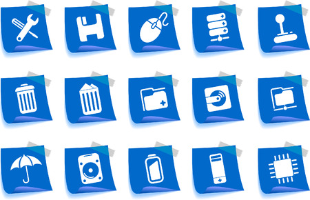 Computer and Data icons Label Series Vector