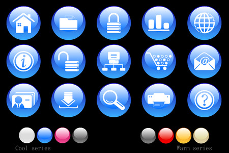 website and internet icons crystal button Vector