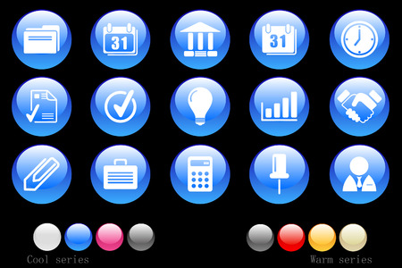 Business icons crystal button Vector