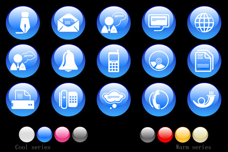 Communication icons crystal button Vector