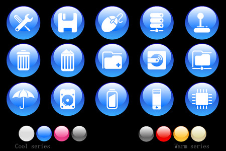Computer and Data icons cystal button Vector
