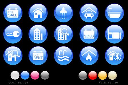 incendio casa: Bot�n de cristal de iconos de Real Estate  Vectores
