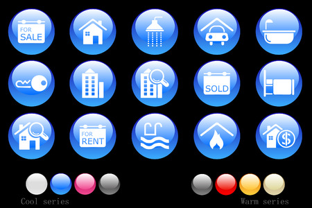 estate car: Real Estate icons crystal button Illustration