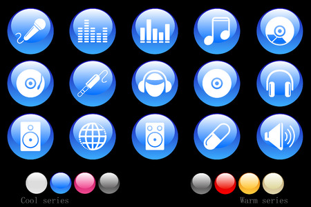 Music and Dance icons crystal button Vector