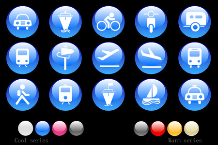 Transportation and Vehicle icons Crystal Button Stock Vector - 7746904