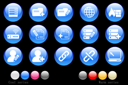 Database and Network icons cystal button Stock Vector - 7746940