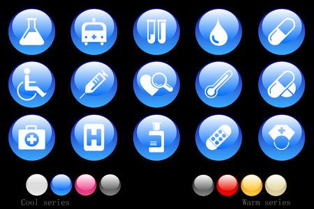 Healthcare and Pharma icons crystal button 向量圖像