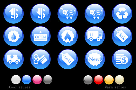 circularity: Sale and Shopping icons crystal button