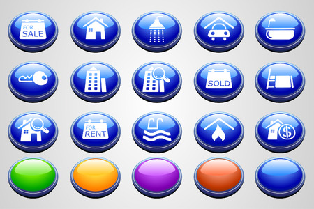 Real Estate icons  Round Perspective series  Stock Vector - 7746964