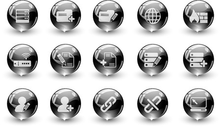 rectangluar: Database and Network icons black crystal Series Illustration