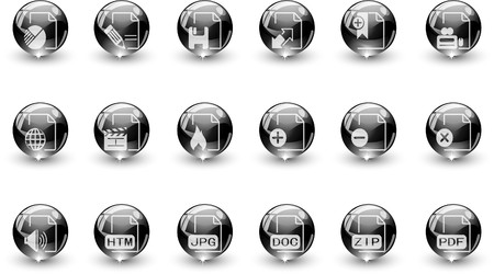 circularity: Document and File formats icons black crystal Series