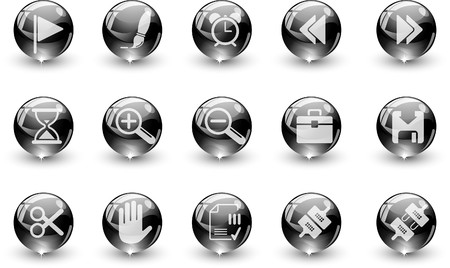 Toolbar and Interface icons black crystal Series Vector