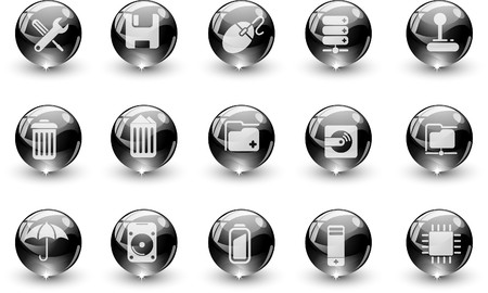 Computer and Data icons black crystal Series Vector