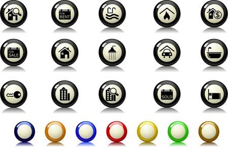 Immobilier icônes série de billard