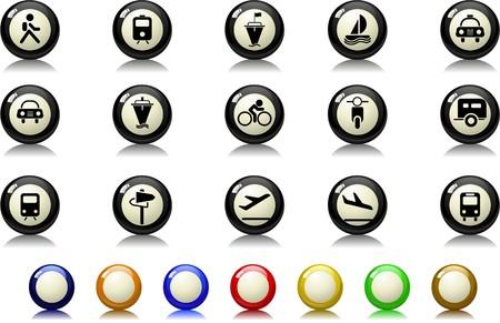 mode of transport: Iconos en el sector del transporte y veh�culos serie de billar
