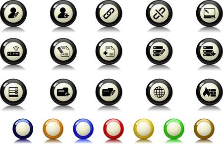 rectangluar: Database and Network icons  Billiards  series Illustration