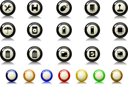 Computer and Data icons Billiards  series Vector
