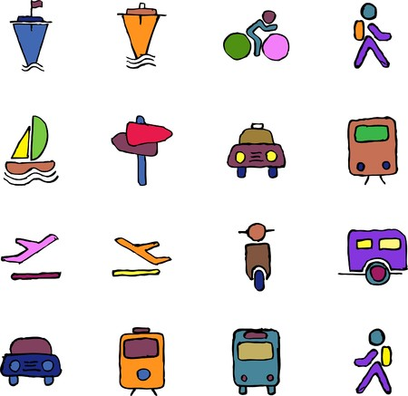 rectangluar: Transportation and Vehicle icons  isolated  Illustration