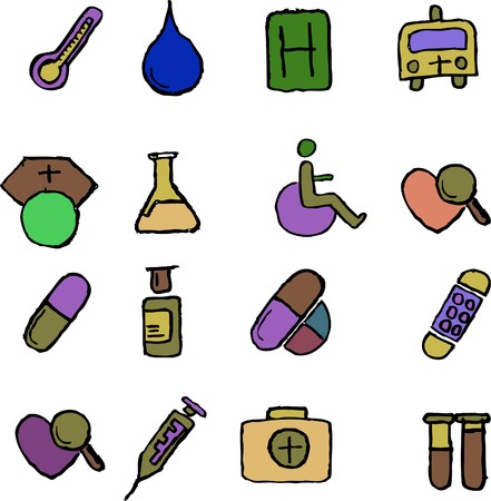 pharma: Healthcare and Pharma icons  isolated