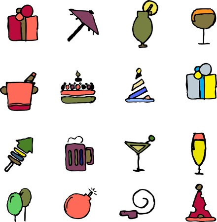 rectangluar: Party and Celebration icons  isolated