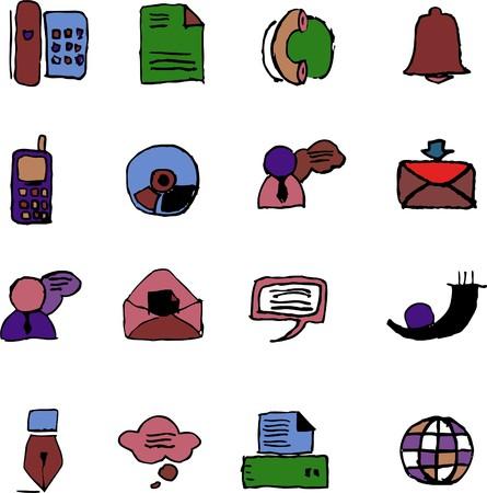 rectangluar: Communication icons  isolated  Illustration