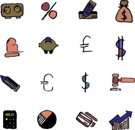 newsfeed: Finance and Banking icons  isolated