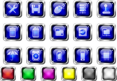 Computer and Data icons Vector