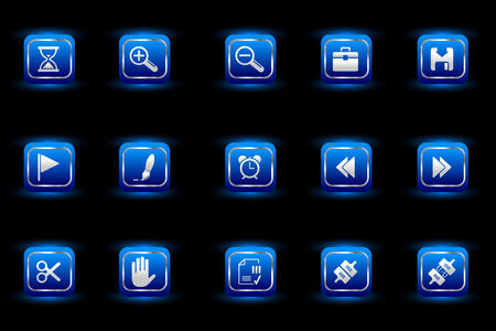fl: Toolbar and Interface icons blue light series Illustration