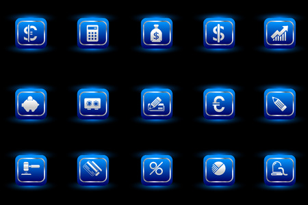 newsfeed: Finance and Banking icons blue light series