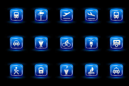 rectangluar: Transportation and Vehicle icons blue light series