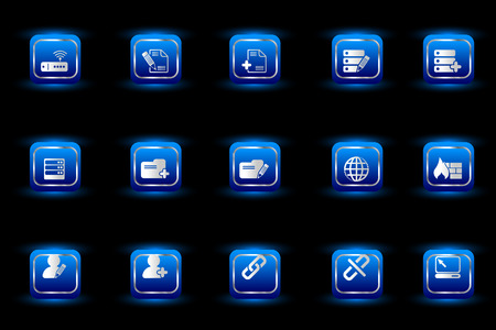 rectangluar: Database and Network icons blue light series