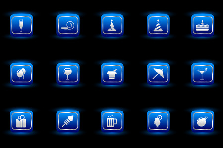 Party and Celebration icons blue light series Stock Vector - 7915066