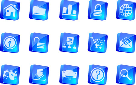 website and internet icons  blue transparent box series   Vector