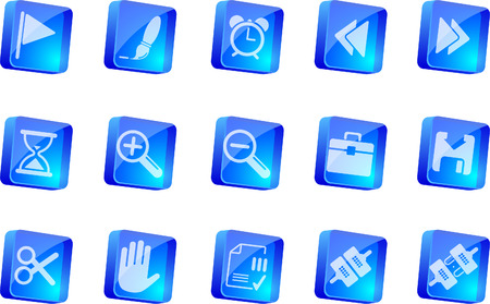 circularity: Toolbar and Interface icons   blue transparent box series