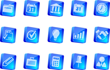 Business icons   blue transparent box series    Vector