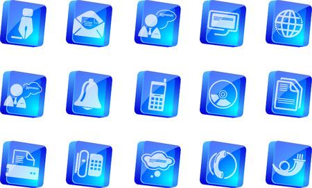 Communication icons    blue transparent box series Stock Vector - 7915101