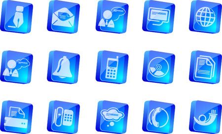Communication icons    blue transparent box series Stock Vector - 7915101