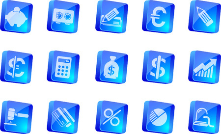 newsfeed: Finance and Banking icons  blue transparent box series