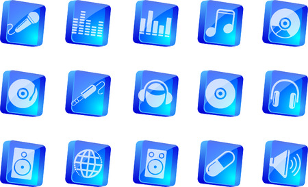 rectangluar: Music and Dance icons  blue transparent box series