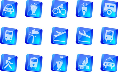 rectangluar: Transportation and Vehicle icons  blue transparent box series   Illustration