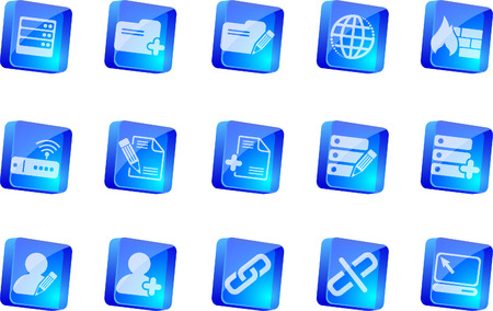 rectangluar: Database and Network icons  blue transparent box series