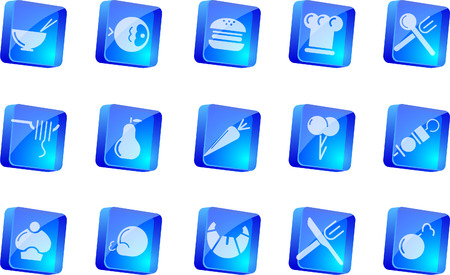 Food & Restaurant icons  blue transparent box series   Vector