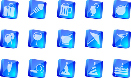 circularity: Party and Celebration icons   blue transparent box series